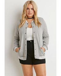 Forever 21 | Gray Varsity-striped Baseball Jacket | Lyst