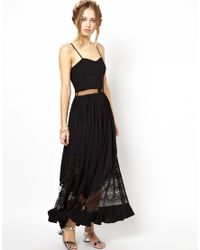 Jarlo | Black Bell Maxi Dress with Lace and Mesh Inserts | Lyst