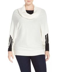 MICHAEL Michael Kors | Natural Fringe Cowl Neck Sweater | Lyst