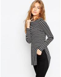 ASOS | Black Longline Top In Stripe With Side Splits And Long Sleeves | Lyst