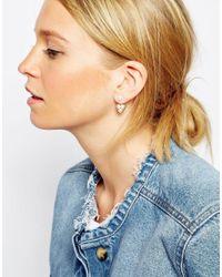 ASOS | Metallic Limited Edition Faux Pearl Triangle Swing Earrings | Lyst