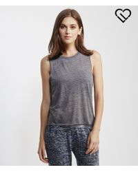Live Love Dream | Gray Lld Sheer Slub-knit Muscle Tank | Lyst