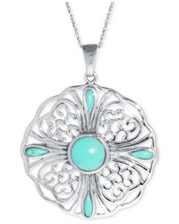 Macy's - Blue Manufactured Turquoise Multi-stone Pendant Necklace (10mm) In Sterling Silver - Lyst