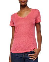 Neiman Marcus - Pink Short-sleeve V-neck Linen Top - Lyst