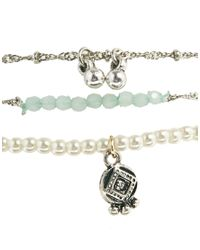 ASOS - Green Faux Pearl Bell Anklet - Lyst