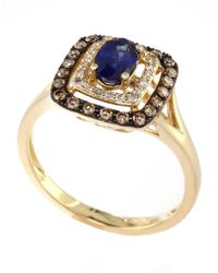Effy | Blue Royale Bleu 14kt. Yellow Gold Sapphire Ring With Brown And White Diamonds | Lyst