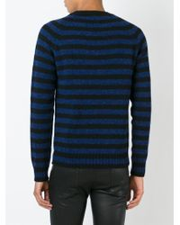 Saint Laurent - Blue Striped Sweater for Men - Lyst