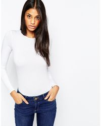 ASOS - White Body With Crew Neck And Long Sleeves - Lyst