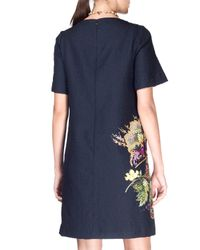 Etro - Blue Floral Cloque Half-sleeve Dress - Lyst