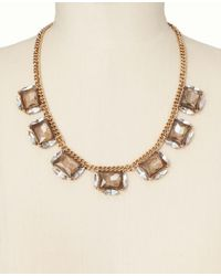 Ann Taylor - Metallic Square and Marquis Crystal Necklace - Lyst