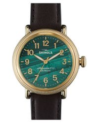 Shinola Brown 'the Runwell' Leather Strap Watch