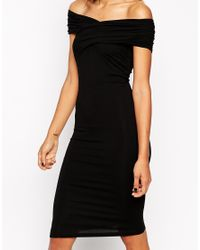 ASOS - Black Bodycon Dress With Bardot Shoulder And Cross Front Detail - Lyst