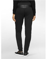 Calvin Klein - Black Jeans Faux Leather + Zip Sweatpants - Lyst