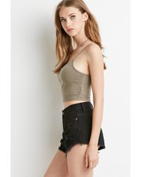 Forever 21 | Green Mineral Wash Cropped Cami | Lyst