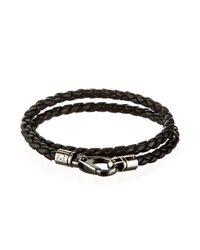 Tod's - Black Woven Leather Bracelet for Men - Lyst