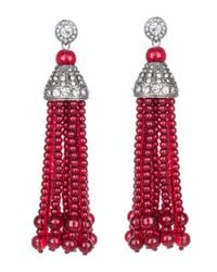 Kenneth Jay Lane   Red Crystal And Ruby Tassel Pierced Earring   Lyst