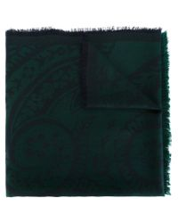 Etro - Green Paisley Print Scarf - Lyst