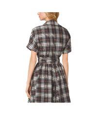 Michael Kors - Black Madras Silk-Taffeta Wrap Shirt - Lyst