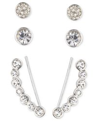 Nine West | Metallic Silver-tone Circular Crystal Ear Crawler And Stud Earring Set | Lyst