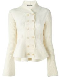 Alexander McQueen - White Double Breasted Knit Jacket - Lyst
