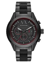 Armani Exchange   Black Chronograph Textured Bracelet Watch for Men   Lyst