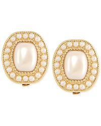 Carolee | White Gold-Tone Imitation Pearl Small Button Clip-On Earrings | Lyst