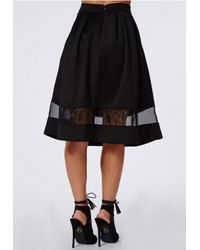 Missguided - Minsie Scuba Organza Panel Full Skater Skirt Black - Lyst