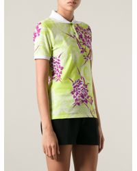 Etro - Green Floral Print Polo Shirt - Lyst