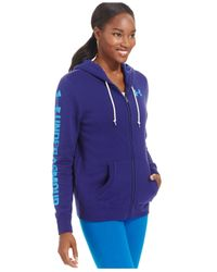 Under Armour - Purple Favorite Fleece Heathered Zippered Hoodie - Lyst
