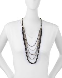 Nakamol | Black Long Multi-strand Agate & Crystal Necklace | Lyst
