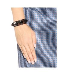 Valentino - Black Rockstud Leather Bracelet - Lyst