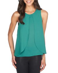 1.STATE | Green Double-layer Ruffle Blouse | Lyst