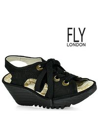 Fly London - Ylva Perforated Nubuc Slingback Wedge in Black - Lyst