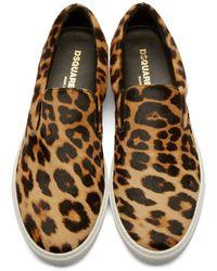 DSquared² - Brown Calf-hair Slip-on Sneakers for Men - Lyst