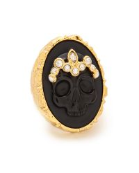 Alexis Bittar | Skull Cameo Crown Ring - Black/Gold | Lyst