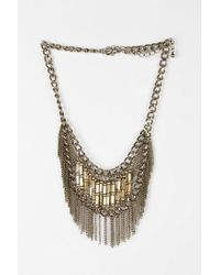 Urban Outfitters | Metallic Beaded Fringe Statement Necklace | Lyst