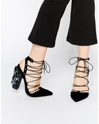 ASOS - Black Principal Lace Up Pointed Heels - Lyst