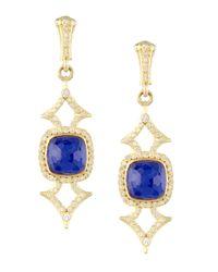 Armenta - Blue Elongated Lapis & Diamond Earrings - Lyst