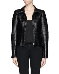 Armani - Black Multi Strip Leather Jacket - Lyst