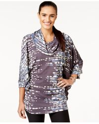Miraclesuit | Gray Printed Cowl-neck Poncho | Lyst