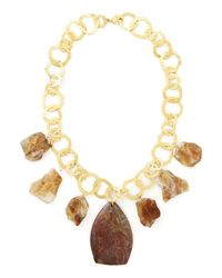 Devon Leigh | Metallic Rainbow Jasper & Citrine Necklace | Lyst