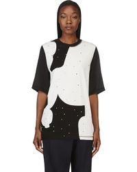 3.1 Phillip Lim - White Black Silk and Jersey Studded T_shirt - Lyst