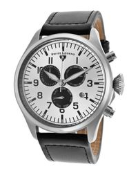 Swiss Legend - Pioneer Chrono Black Genuine Leather Silver-tone Dial Stainless Steel for Men - Lyst