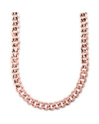 Givenchy - Pink Rose Goldtone Swarovski Silk Crystal Curb Link Necklace - Lyst