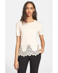 The Kooples Natural Lace Trim Jersey Tee