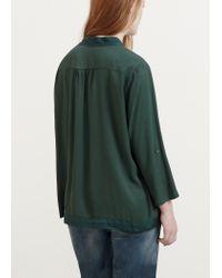 Violeta by Mango - Green Textured Panel Blouse - Lyst