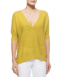 Eileen Fisher - Yellow Linen & Cotton-Blend Top - Lyst