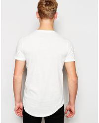 Jack & Jones | White Longline T-shirt With Contrast Printed Pocket for Men | Lyst