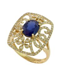 Effy - Blue Royale Bleu 14kt. Yellow Gold Sapphire And Diamond Ring - Lyst