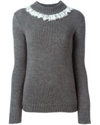 Isa Arfen - Gray Lace Trim Sweater - Lyst